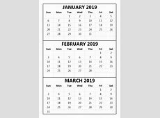 3 Months Calendar January 2019 To March 2019 October