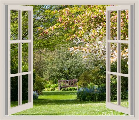 spring garden window frame view  stock photo public
