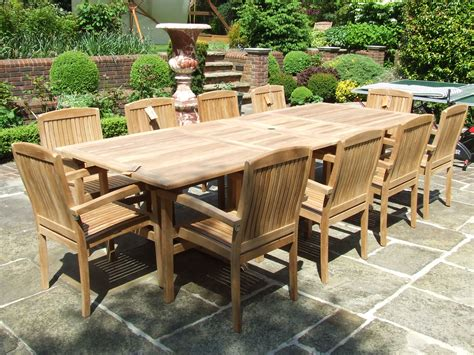 12 seater outdoor table 10 seater teak set the barbuda 10 seater double