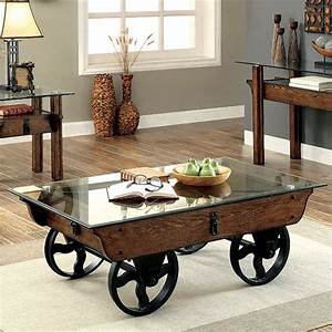 Tristin rustic glass top wooden coffee table with black for Glass top coffee table with wheels