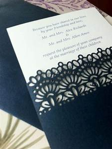 Laser cut wedding invitations die cut wedding invitations for Laser cut wedding invitation sleeve pocket