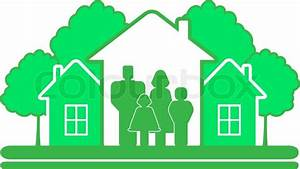 Green eco symbol with tree house and family silhouette ...