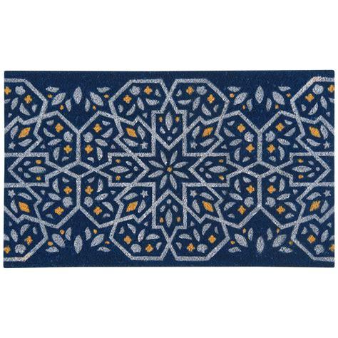 Blue Doormat by Now Designs Medina Blue 18 In X 30 In Coir Door Mat