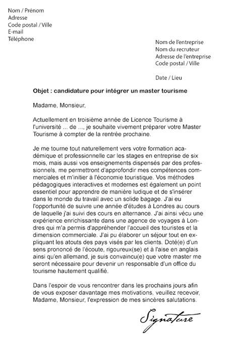 lettre de motivation master lettres modernes lettre de motivation master tourisme mod 232 le de lettre