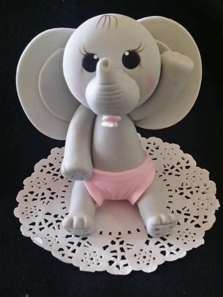 gray elephant cake topper pink elephant theme elephant