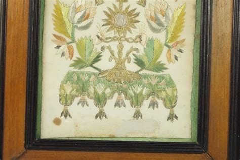 antique  century french embroidery  paper circa