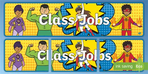 * New * Superhero Classroom Jobs Banner  Back To School, Roles