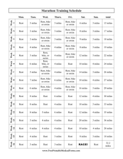 printable marathon training schedule