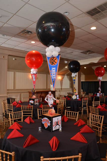 "Simply apply the 3 decals, and you have an easily created basketball themed room! Images tagged ""Basketball Themed Bar Mitzvah"" - Balloon Artistry"