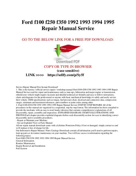 service repair manual free download 1987 ford f series electronic toll collection ford f100 f150 f250 f350 1992 1993 1994 1995 repair manual service