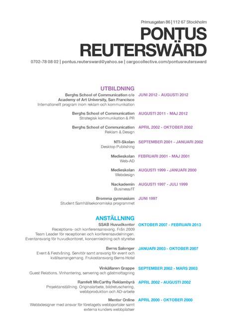 Présentation Cv by Cv Personal Presentation Pontusreutersward