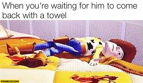 Sexy Memes For Him - when you re waiting for him to come back with a towel woody toy story starecat com