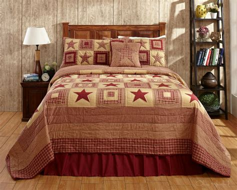 4pc Colonial Star Burgundy Luxury King Bed Quilt Set By