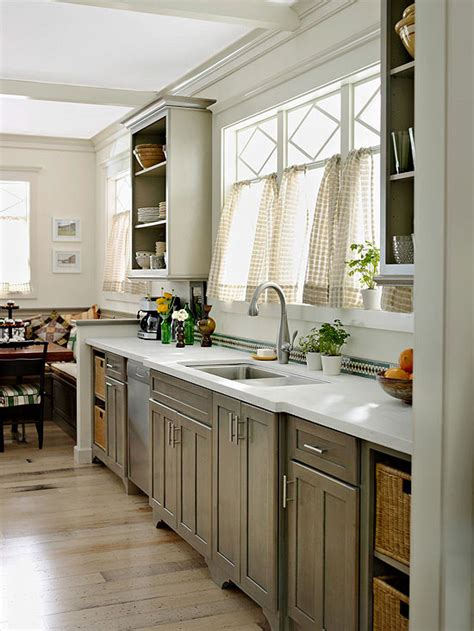 gray kitchen cabinets  homes gardens