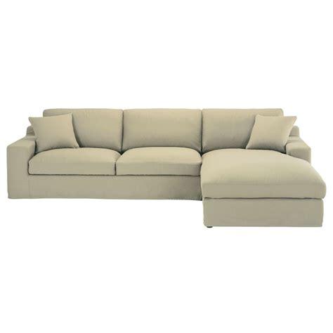 canapé droit 5 places canapé d 39 angle droit 5 places en coton mastic stuart
