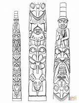 Totem Coloring Poles Native Pole Drawing Printable Haida Dala Horse Indian Swedish Worksheets Tattoo Tlingit Templates Crafts Meanings Symbols Totum sketch template