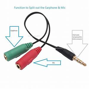 3 5mm Male To 2 Dual Female Plug Jack Audio Headset Mic