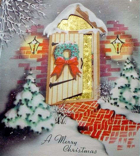 antique front door christmas cards merry christmas crib