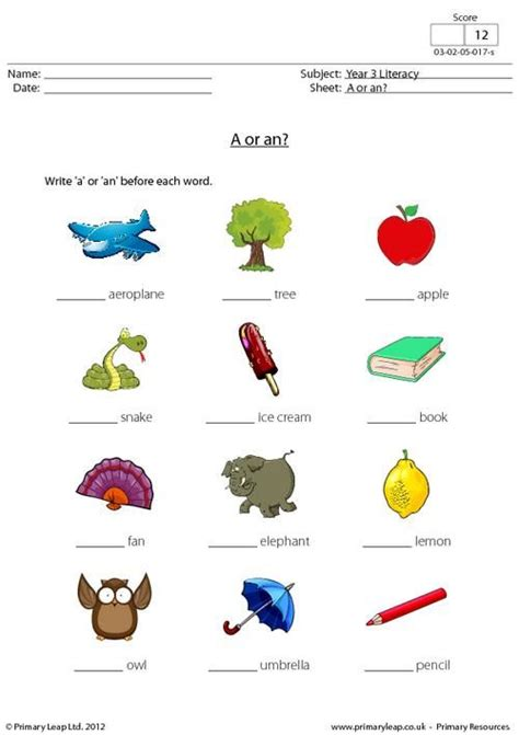 primaryleap co uk a or an worksheet printable