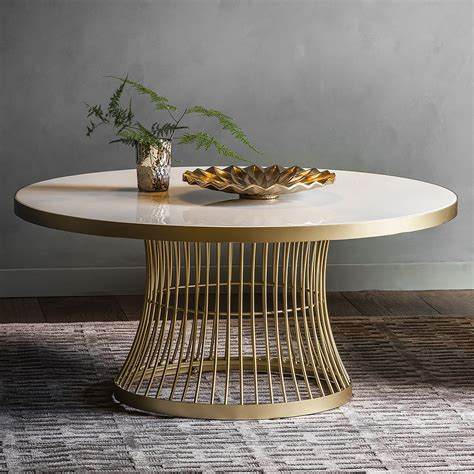 Luxury furniture marble top coffee table sectional glass round tea table with gold stainless steel frame. Marble Topped Round Coffee Table - Gold   Primrose & Plum ...
