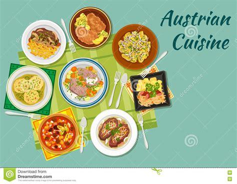 icone cuisine icône plate de cuisine autrichienne avec des plats de viande illustration de vecteur image
