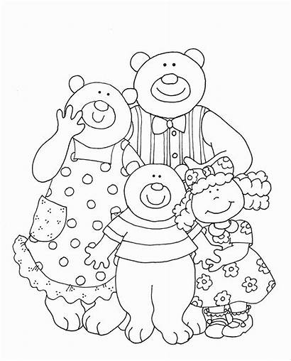 Goldilocks Bears Three Coloring Pages Drawing Stamps
