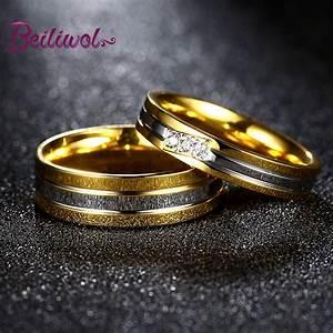 2017 Fashion Gold color Engagement Rings Titanium Couple ...