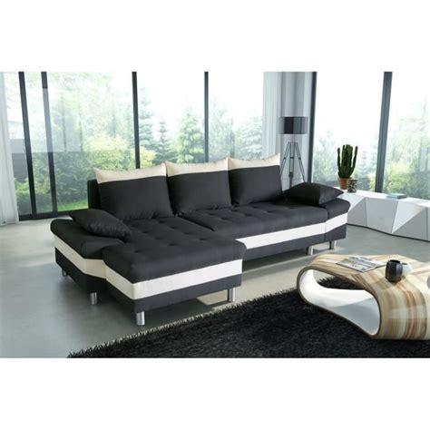 canapé d angle convertible noir et blanc pegase canapé d 39 angle gauche convertible 4 places 277x96
