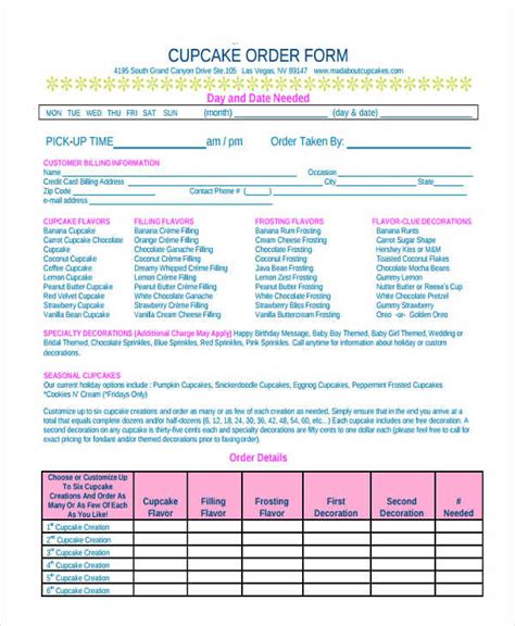 cake order forms  samples examples format