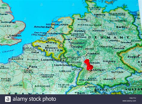 stuttgart on map stuttgart germany pinned on a map of europe stock photo