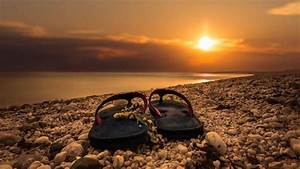 sunrise, Flip flops, Beach, Rock Wallpapers HD / Desktop ...