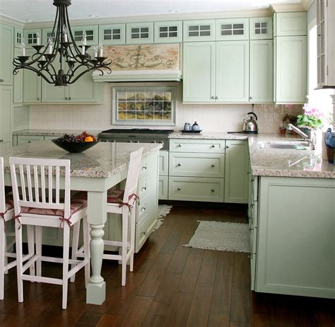 French Landscape Mural In Cottage Kitchen Design