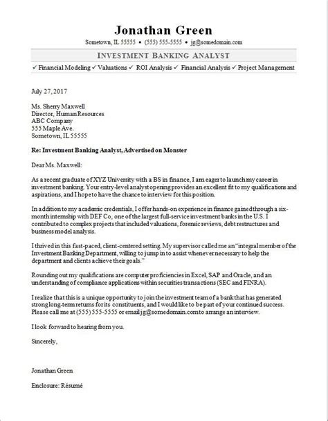 Cover Letter Investment Banking by Cover Letter Template Banking 2 Cover Letter Template