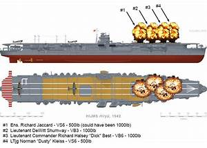 Diagram Showing Bomb Hits On Kaga  Battle Of Midway June