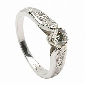 diamond engagement white gold ring with trinity shank With wedding rings ireland