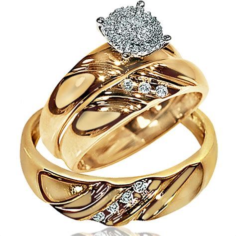 wedding ring sets his and hers his wedding rings set trio men women 10k yellow gold