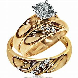 Womens wedding ring sets gold fresh her wedding rings set for Real wedding ring