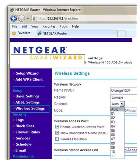 netgear router change wireless channel