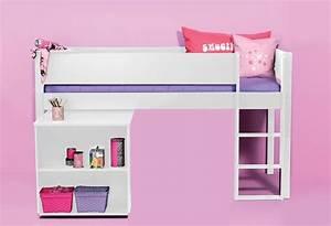 Lit Avec Bureau : commandez le lit mi hauteur milan blanc avec bureau ~ Teatrodelosmanantiales.com Idées de Décoration