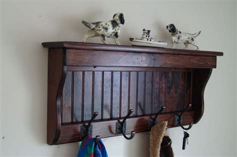 "30"" Handcrafted Wooden Wall Mount Coat Rack, Shelf, Key"
