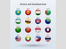 Central and Southeast Asia Round Flags Collection Stock