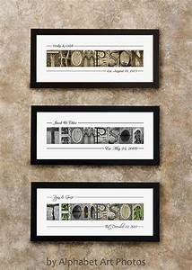 last name sign home decor alphabet photo letter art wall With framed last name letter art