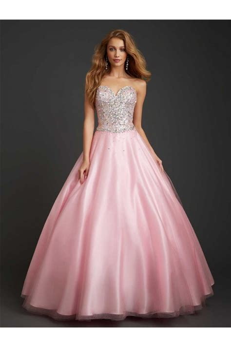 light pink prom dress gown strapless sweetheart light pink tulle beaded