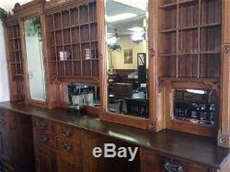 Antique Barber Shop Back Bar Cabinet Duo Stations Vintage