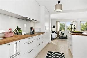 Cuisine blanche et bois deco appartement pinterest for Idee deco cuisine avec meuble scandinave bois et blanc