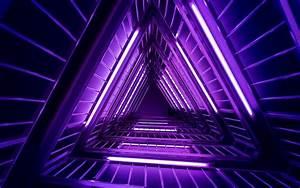Wallpaper Lights, Purple, Neon, Triangles, 4K, Photography