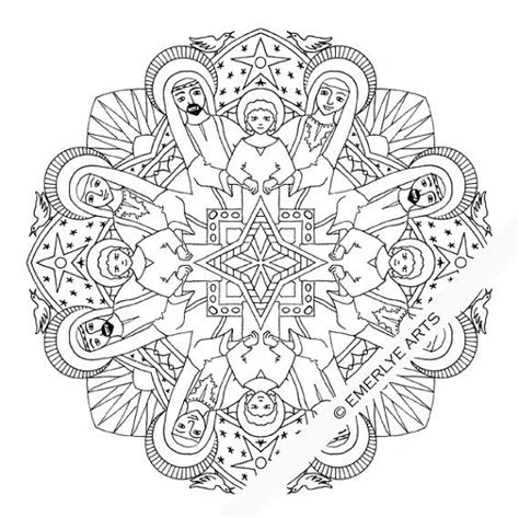 holy family mandala adult coloring page printable