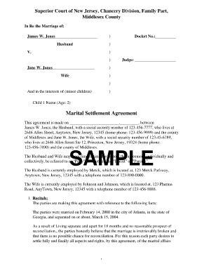 divorce settlement agreement fill  printable
