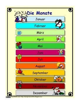 die monate auf deutsch german months  calendar