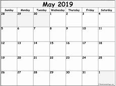 May 2019 free printable blank calendar collection